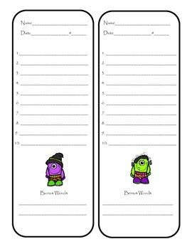 Halloween Theme Spelling Test FREEBIE
