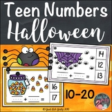Halloween Theme Teen Number Clip Cards 10 to 20