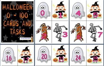 Halloween Themed 0-100 Numeral Cards with Task Cards