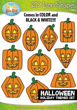 Halloween 2D Icon Shapes Clipart {Zip-A-Dee-Doo-Dah Designs}