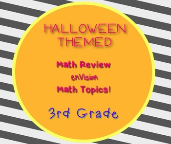 Halloween Game 3rd Grade Math Questions  enVision 30 task cards