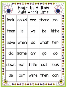 Sight Words - Halloween Themed 4-In-A-Row Sight Word Games