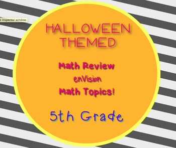 Halloween Game 5th Grade Math Questions  enVision 30 task cards