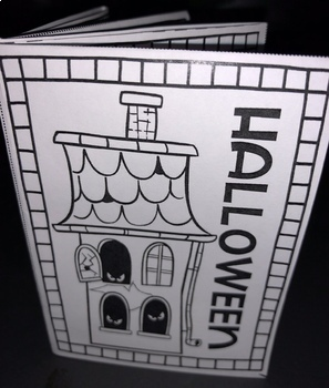 Halloween Themed 8-Page Mini Book Template (Coloring-In Book) with Instructions