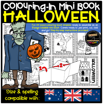 Halloween Themed 8-Page Mini Book Template (Colouring-In Book) with Instructions