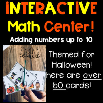 Halloween Themed Adding Within 10 Task Poke Cards