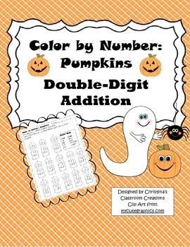 Halloween Pumpkin Double-Digit Addition: Color by Number