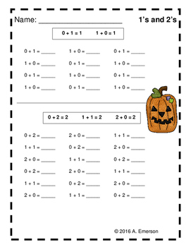 Halloween Themed Addition Drill Worksheets for Numbers 1-20 by ...