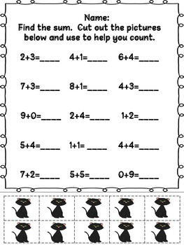 Halloween Themed Addition and Subtraction Math Printables w/10 frame