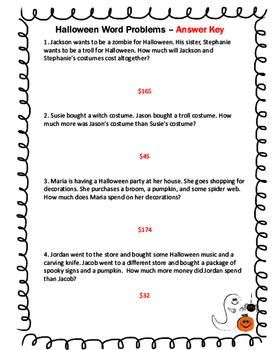 Halloween Themed Addition and Subtraction Word Problems