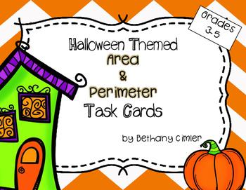 Halloween Themed Area & Perimeter Task Cards {{Grades 3-5}}