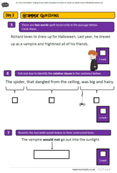 Halloween Themed Arithmetic, Grammar and Reasoning Booklet