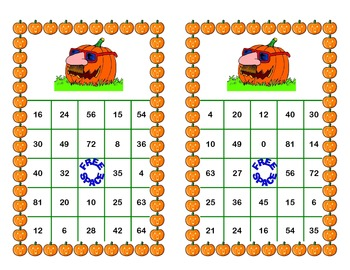 Halloween Themed Bingo Game Multiplication Tables 0-10