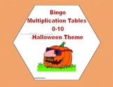 Bingo Game Multiplication Tables 0-10-Halloween Themed