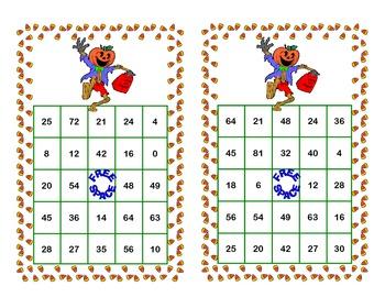 Bingo Game Multiplication Tables 0-10-Halloween Themed