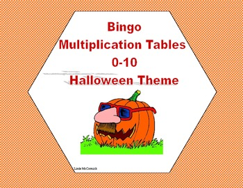 Halloween Themed Bingo Game Multiplication Tables 0-10