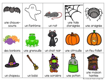 Halloween Themed Bingo Game in French