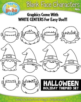 Halloween Themed Blank Face Kid Characters Clipart Set — I