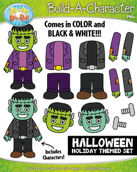 Halloween Themed Build-A-Character Clipart Set — Includes