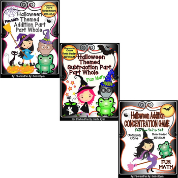 Halloween Themed Bundle Addition + Subtraction + Math Center Game Pack