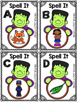 Halloween Themed CVC Short o Spell It Roam the Room Cards