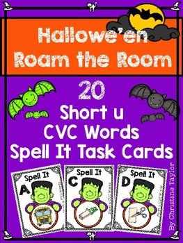 Halloween Themed CVC Short u Spell It Roam the Room Cards