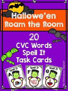 Halloween Themed CVC Spell It Roam the Room Cards