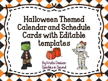 Halloween Themed Calendar and Schedule Cards