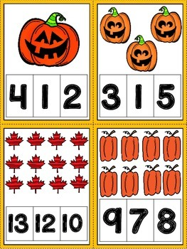 Halloween Themed Clip Counting Cards (Numbers 1-20)
