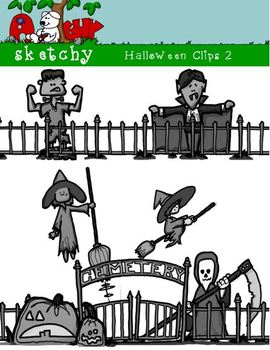 Halloween Themed Clipart / Graphics 2 - 300dpi Color, Grayscale, Black and White