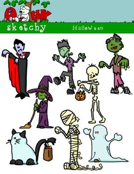 Halloween Themed Clipart / Graphics - 300dpi Color, Grayscale, Black and White