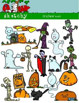 Halloween Themed Clipart / Graphics - 300dpi Color, Graysc