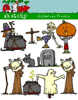 Halloween Themed Clipart / Graphics FREEBIE - 300dpi Color, Grayscale, BW