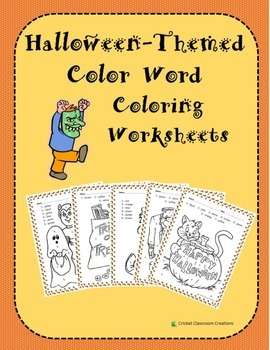 Halloween Themed Color Word Color by Number