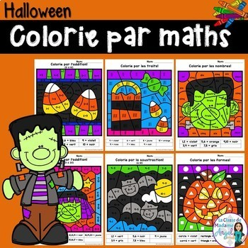Halloween Themed Color by Code Math Activities in French
