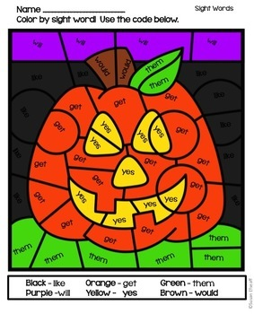 Sight Word Coloring Sheets - Halloween Themed Color by Code