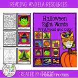 Halloween Themed Color by Code Sight Word Coloring Sheets