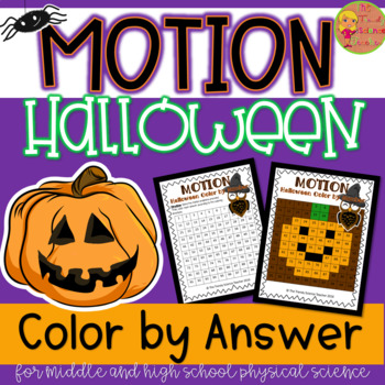 Halloween Themed Color-by-Number Motion Word Problem Activity