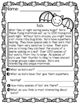 Halloween Themed Comprehension Passages and Questions with Anchor Charts