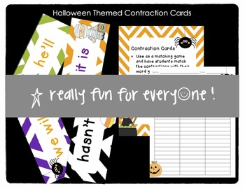 Halloween Themed Contraction Cards