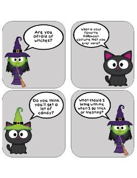 Halloween/Fall/Autumn Conversation Cards Speech Game Activity Autism