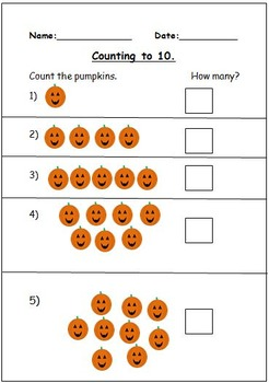 Halloween Themed Counting To 10 Activities.