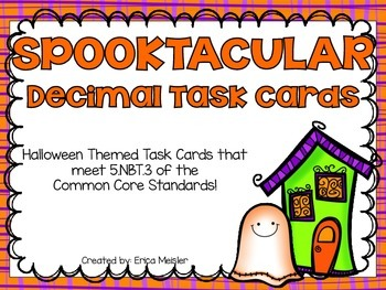 Halloween Themed Decimal Task Cards