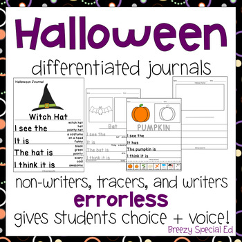 Halloween Themed Differentiated Journal Writing for Special Education