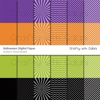 Halloween Themed Digital Paper and Background Set - 24 hig