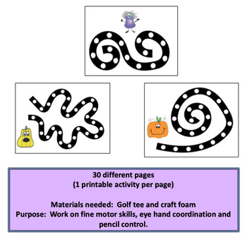 Fine Motor Halloween Themed Dotted Punch Dot Skills Labs for Center Time