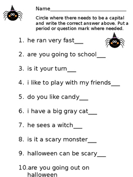 Halloween Themed ELA worksheets