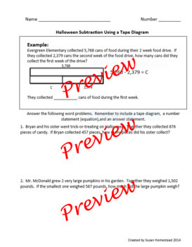 Halloween Themed Engage NY Subtraction Tape Diagram Practi
