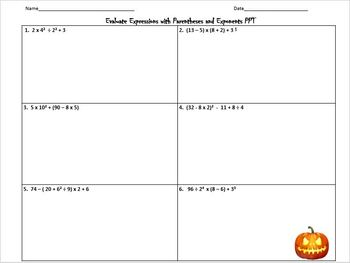 Halloween-Themed Evaluate Expressions with Whole Number Exponents PPT Practice