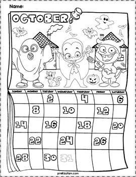 Halloween Themed Fill in the Number Calendars